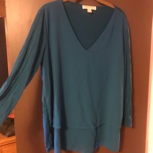 Michael Kors long sleeve high low blouse